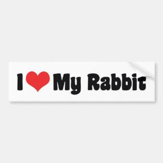 Amo a mi pegatina para el parachoques del conejo etiqueta de parachoque