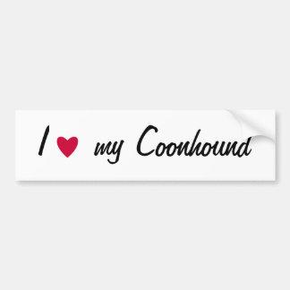 Amo a mi pegatina para el parachoques del coonhoun pegatina de parachoque