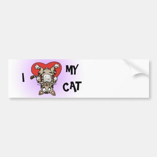Amo a mi pegatina para el parachoques del gato pegatina para auto