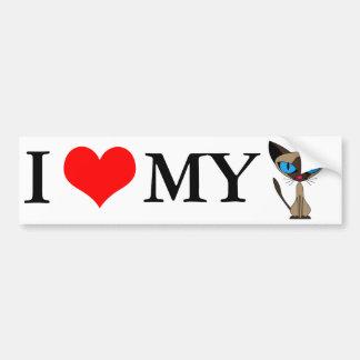 Amo a mi pegatina para el parachoques del gato sia pegatina para auto
