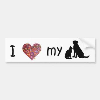 Amo a mi pegatina para el parachoques del gato y d pegatina para auto