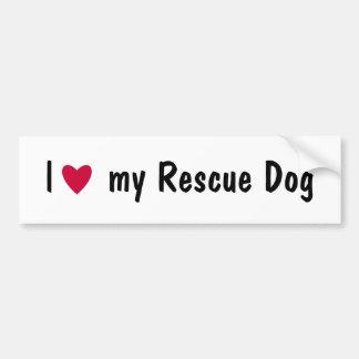 Amo a mi pegatina para el parachoques del perro de pegatina de parachoque