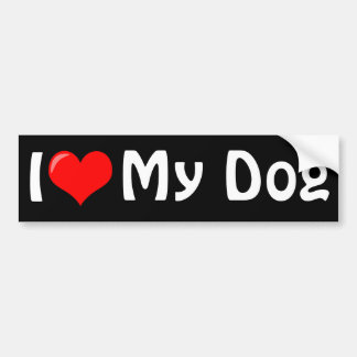 Amo a mi pegatina para el parachoques del perro pegatina para auto