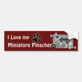 Amo a mi pegatina para el parachoques del Pinscher Pegatina Para Auto