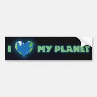 Amo a mi pegatina para el parachoques del planeta etiqueta de parachoque