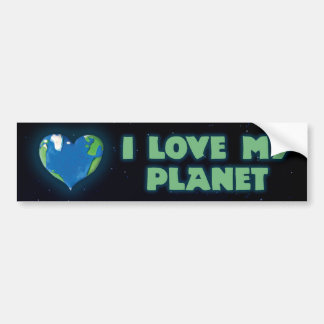 Amo a mi pegatina para el parachoques del planeta pegatina para auto
