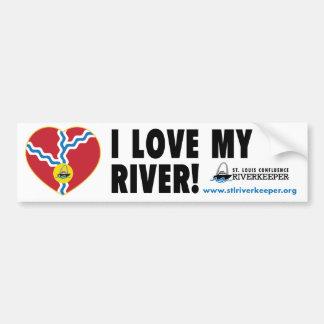 Amo a mi pegatina para el parachoques del río pegatina para auto