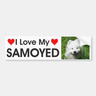 Amo a mi pegatina para el parachoques del samoyedo pegatina de parachoque