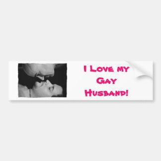 Amo a mi pegatina para el parachoques gay del mari pegatina para auto