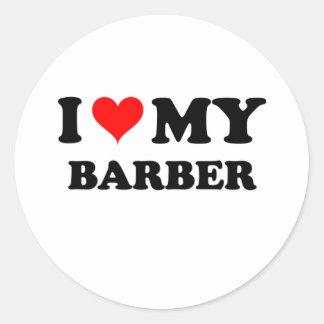 Amo a mi peluquero pegatina redonda
