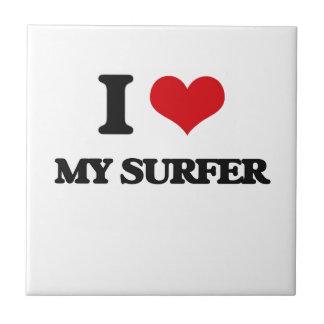 Amo a mi persona que practica surf teja cerámica
