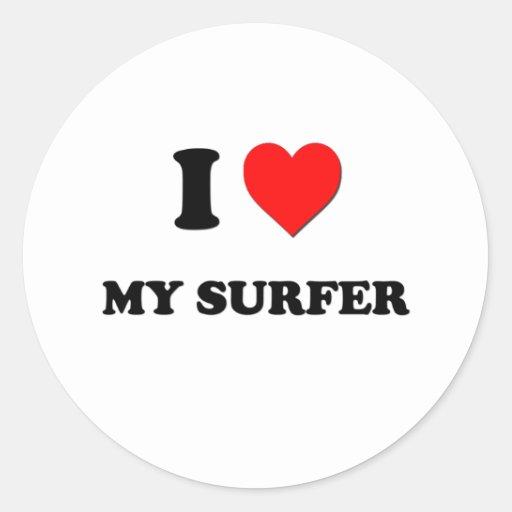 Amo a mi persona que practica surf pegatinas redondas