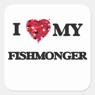 Amo a mi pescadero pegatina cuadrada