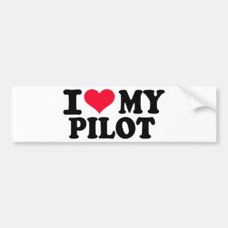 Amo a mi piloto etiqueta de parachoque
