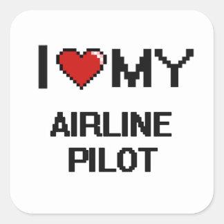 Amo a mi piloto de la línea aérea pegatina cuadrada