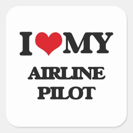 Amo a mi piloto de la línea aérea pegatina cuadradas