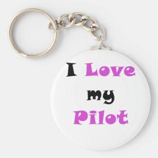 Amo a mi piloto llavero redondo tipo pin