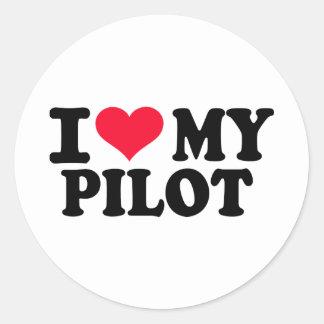 Amo a mi piloto pegatina redonda