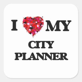 Amo a mi planificador de la ciudad pegatina cuadrada