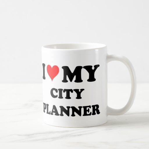 Amo a mi planificador de la ciudad tazas de café