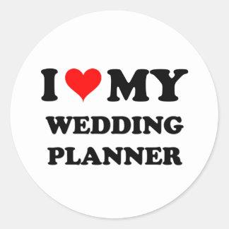 Amo a mi planificador del boda etiqueta redonda