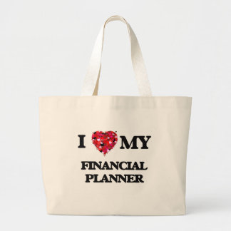 Amo a mi planificador financiero bolsa tela grande