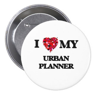 Amo a mi planificador urbano pin redondo de 3 pulgadas