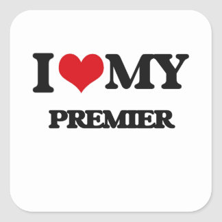 Amo a mi primero ministro calcomania cuadradas personalizada