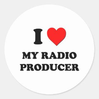 Amo a mi productor de radio pegatinas redondas