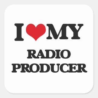 Amo a mi productor de radio pegatinas cuadradases