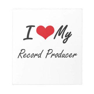 Amo a mi productor de registro bloc de papel