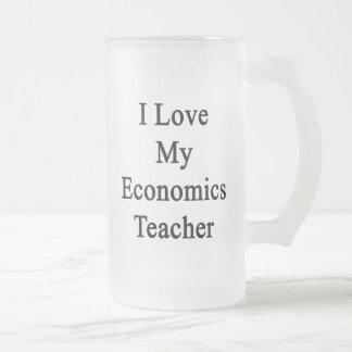 Amo a mi profesor de la economía taza cristal mate