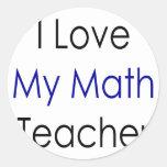 Amo a mi profesor de matemáticas pegatinas redondas