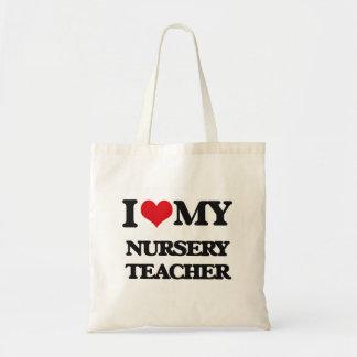 Amo a mi profesor del cuarto de niños bolsas de mano