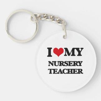 Amo a mi profesor del cuarto de niños llavero redondo acrílico a una cara