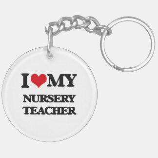 Amo a mi profesor del cuarto de niños llavero redondo acrílico a doble cara