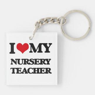 Amo a mi profesor del cuarto de niños llavero cuadrado acrílico a doble cara