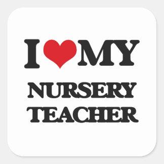 Amo a mi profesor del cuarto de niños pegatina cuadrada