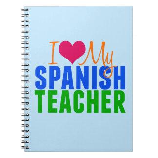 Amo a mi profesor español spiral notebook