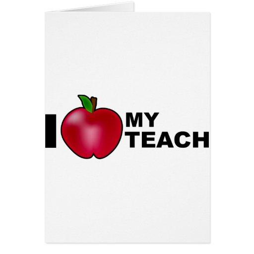 Amo a mi profesor tarjeta de felicitación