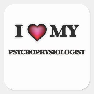 Amo a mi psicofisiólogo pegatina cuadrada