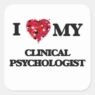 Amo a mi psicólogo clínico pegatina cuadrada