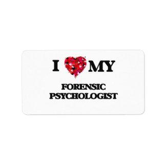 Amo a mi psicólogo forense etiqueta de dirección