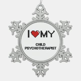 Amo a mi psicoterapeuta del niño adorno de peltre en forma de copo de nieve