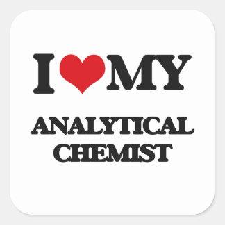Amo a mi químico analítico pegatina cuadradas personalizadas