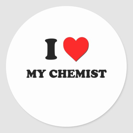 Amo a mi químico etiqueta redonda