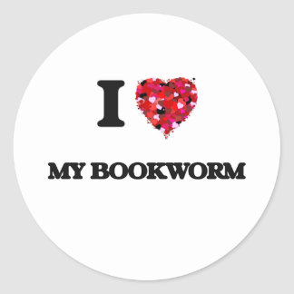 Amo a mi ratón de biblioteca pegatina redonda
