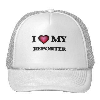 Amo a mi reportero gorros bordados
