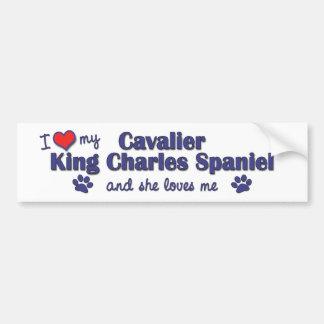 Amo a mi rey arrogante Charles (el perro femenino) Pegatina Para Auto