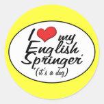 Amo a mi saltador inglés (es un perro) pegatinas redondas